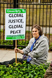 Say No To Nato Protest. LONDON, UK - 19 May 2012: participants at the Say No To NATO protest called by STWC and CND in front of the US embassy in Grosvenor Royalty Free Stock Photos