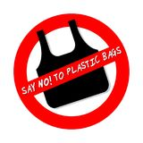 SAY NO TO PLASTIC BAGS ban sign icon  on white. Background Royalty Free Stock Images