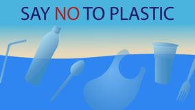 Say no to plastic cups, dishes, package, bottles royalty free illustration