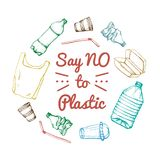 Say no to plastic. Motivational phrase. Hand drawn doodle plastic pollution icons set. Vector illustration sketchy. Symbols collection. Bag, Bottle, Package vector illustration