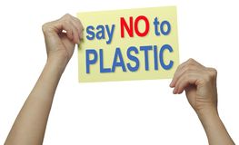 Say NO to PLASTIC protest placard Stock Image