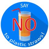 Say no to plastic straws concept banner with a drinking glass. Save the earth and good environment. Concept vector illustration