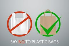 Say no to plastick bags poster. Vector illustration royalty free illustration