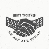 Say No to Racism Vintage Vector Handshake Silhouette with Retro Typography and Shabby Textures. Royalty Free Stock Photo