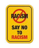 Say no to racism yellow sign Royalty Free Stock Photo