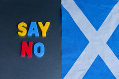 Say no to Scottish Independence. Text saying ' say no ' in colorful uppercase letters next to the Scottish flag, the Saltire and refers to the planned referendum Stock Photos