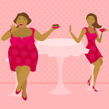 Say no to sweets. Illustration of thick and thin girls in a cafe Royalty Free Stock Photos
