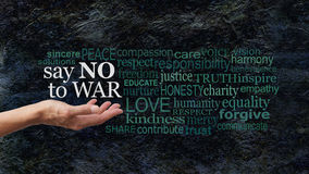Say NO to WAR word cloud campaign banner Stock Images