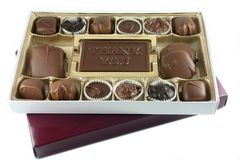 Say Thank you with Chocolate. Gourmet Box of Chocolates, stating the phrase, Thank you royalty free stock photo
