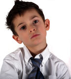 Say What. 5 year old boy wondering what happened stock photos