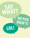 Say What?. Speech bubbles over circle pattern Royalty Free Stock Photo