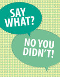 Say What?. Speech bubbles over circle pattern Stock Photography