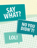 Say What?. Speech bubbles over circle pattern Stock Photos
