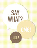 Say What?. Say what speech bubbles over circle pattern Stock Photography