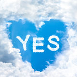 Say yes concept tell by shy cloud nature Stock Photos