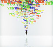 Say yes concept with yes words and businessman Stock Photography