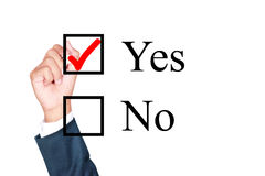 Free Say Yes Tick Mark On Checkbox Royalty Free Stock Photography - 49441337