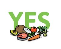 Say Yes to healthy lifestyle. Healthy food choice. Flat vector illustration. Isolated on white background. Say Yes to healthy lifestyle. Healthy food choice vector illustration