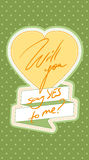 Say yes to me!. Say yes! Happy Valentines Day! Vector card with yellow heart and green background with white dots Royalty Free Stock Photo