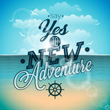 Say yes to new adventures inspiration quote on ocean landscape background. Royalty Free Stock Images