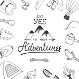 Say yes to new adventures with painted camping. Vector card with hand drawn unique typography design element for greeting cards, decoration, prints and posters Stock Photography