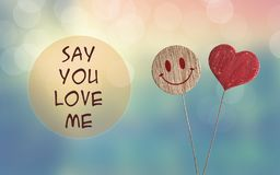 Say you love me with heart and smile emoji. Say you love me with wooden heart and smile emoji on bokeh light background stock photo