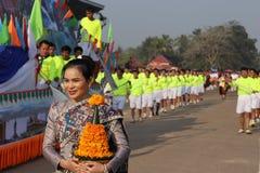 Sayaboury,老挝- 2018年2月17日:大象节日在Sayaboury每年2月发生 这是为了促进骗局 图库摄影