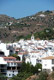Sayalonga, Andalusia, Spain. View of the town and church with mountains to the rear, Sayalonga, Axarquia region, Malaga Province, Andalusia, Spain, Western Royalty Free Stock Photo