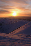 Sayan mountains.  Siberia.  Sunset Royalty Free Stock Photo