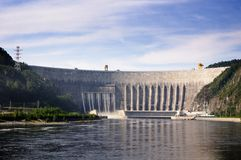 "Sayano†""Shushenskaya水电厂的水坝 库存照片"
