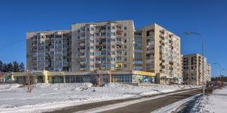 SAYANSK, IRKUTSK/RUSSIA - 26 DE FEBRERO: complejo Nueve-residencial Imagenes de archivo