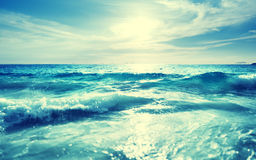 Saychelles plaża w zmierzchu czasie, plandeki przesunięcia skutek Zdjęcia Stock