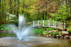 Sayen Park Botanical Garden Bridge and Fountain Stock Images