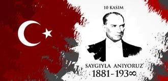 Saygilarla aniyoruz 10 kasim. Translation from Turkish. November 10, respect and remember stock illustration