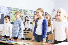 Saying 'good morning' to the teacher royalty free stock image
