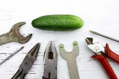 Saying if it ain`t broke, don`t fix it metaphor with whole cucum Royalty Free Stock Photography