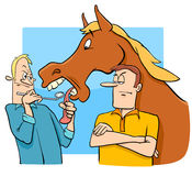 Saying looking a gift horse in the mouth cartoon Royalty Free Stock Photo