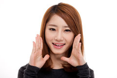 Saying young asian woman. Isolated on white background stock image