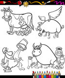 Sayings Cartoon Set for coloring book Stock Photos