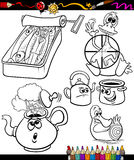 Sayings set for coloring book Royalty Free Stock Images