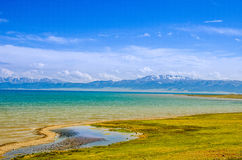 Sayram Lake by the meadow, on the plateau Royalty Free Stock Photography