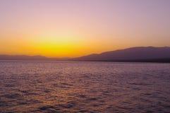 Sayram Lake morning light. China Sayram Lake scenery.tranquility Royalty Free Stock Images