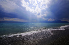 Sayram Lake shoreline Royalty Free Stock Photos
