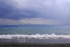 Sayram Lake shoreline Royalty Free Stock Photography