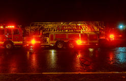 Sayreville NJ, Usa - Apryl 01, 2017: Fire engine of FDNY with lights flashing at night Royalty Free Stock Photos