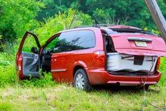 Sayreville NJ usa - Jujy 02, 2018: przy wypadkiem uszkadzający samochód Obraz Royalty Free