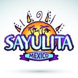 Sayulita Mexico - vector icon, emblem design Royalty Free Stock Photo