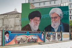 Sayyid阿里Hosseini哈米尼总统和阿訇Sayyid Ruhollah Musavi霍梅尼广告牌 免版税库存照片