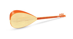 Saz Traditional Turkish Music Instrument Isolated. On a White Background Royalty Free Stock Image