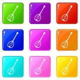 Saz turkish music instrument icons 9 set Royalty Free Stock Image